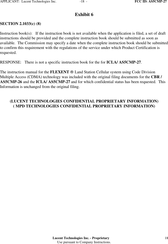 Alcatel Lucent USA CMP-27 User Manual Exhibit 6