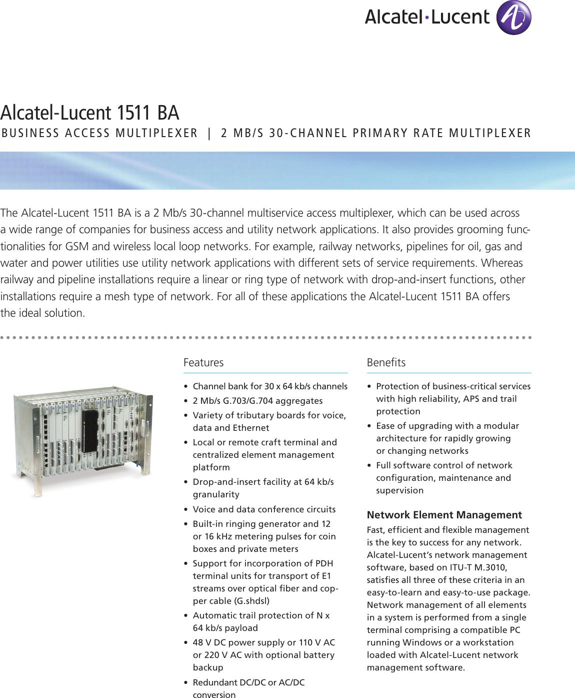 Alcatel Lucent 1511 Ba Users Manual CAR9718080111_ds (1511 BA)
