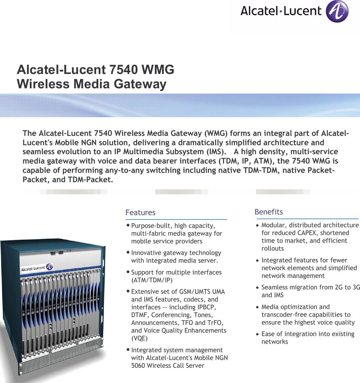 Alcatel Lucent 7540 Wmg Users Manual Data Sheet