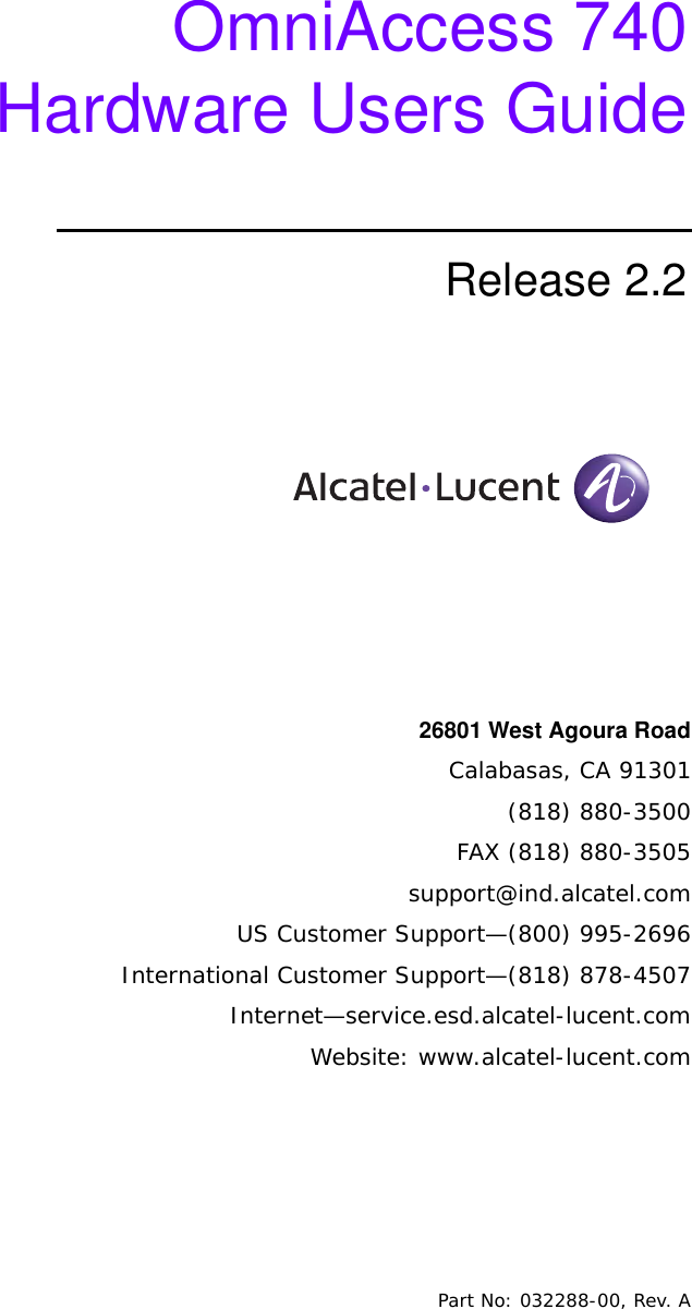 d58ee07612d5 Alcatel Lucent Omniaccess 740 Users Manual OA Hardware Guide
