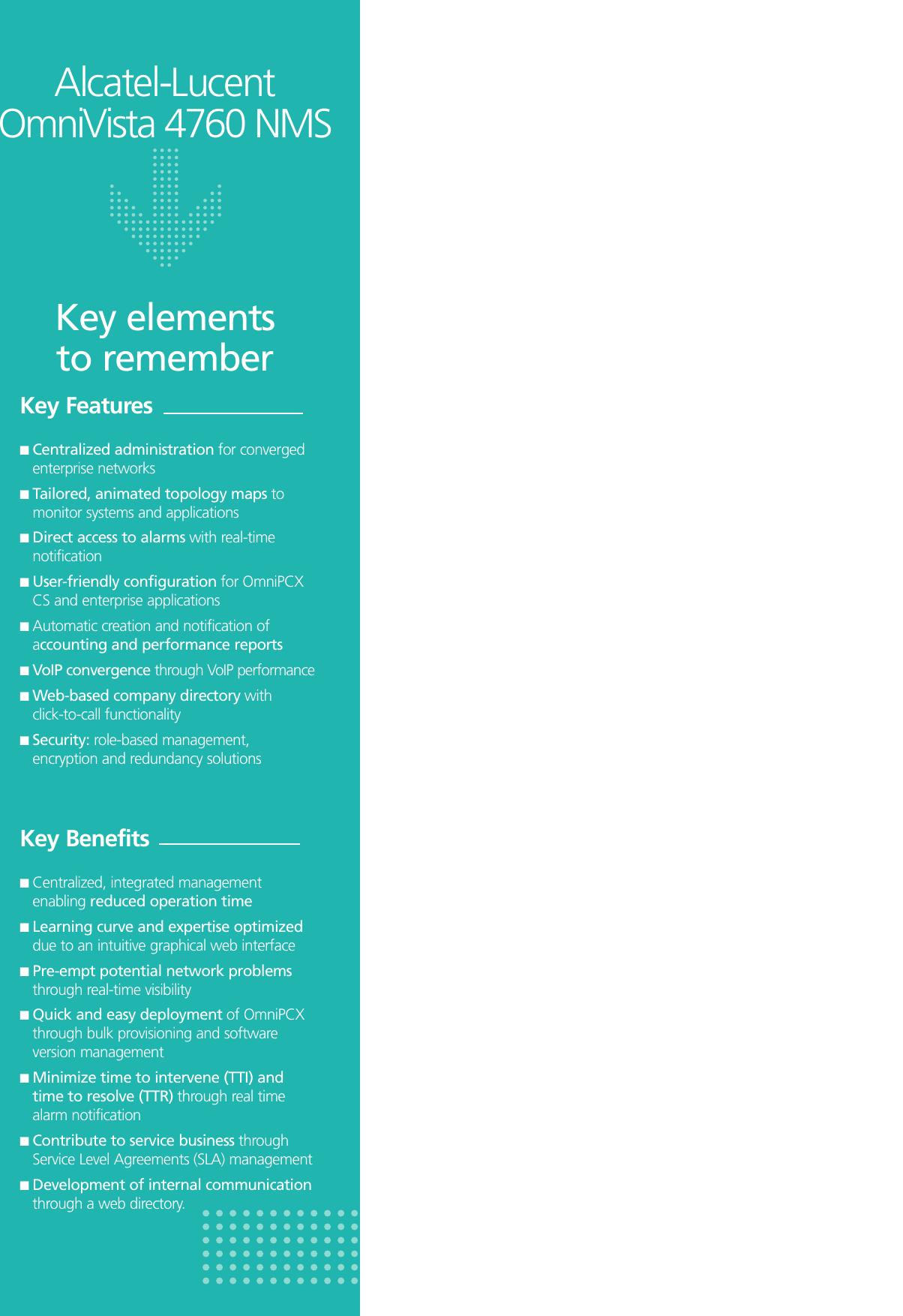 Alcatel Lucent Omnivista 4760 Users Manual Mise En