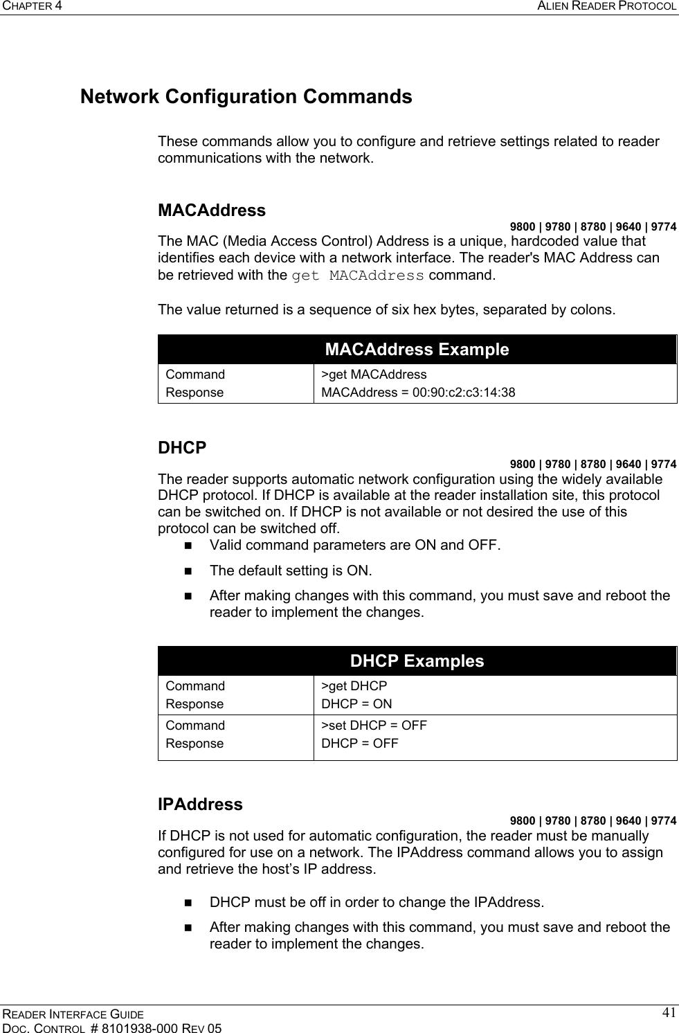 Alien Technology ALR9800 RFID Reader User Manual Guide Reader Interface
