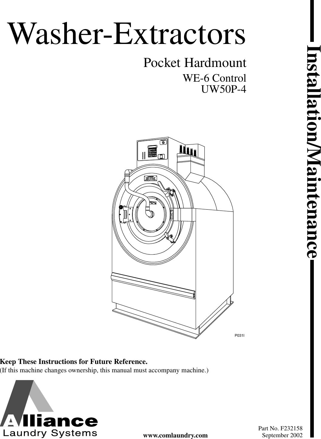 Alliance Laundry Systems Uw50p 4 Users Manual Washer Extractors Washing Machine Door Interlock Wiring Diagram Installation Maintenance