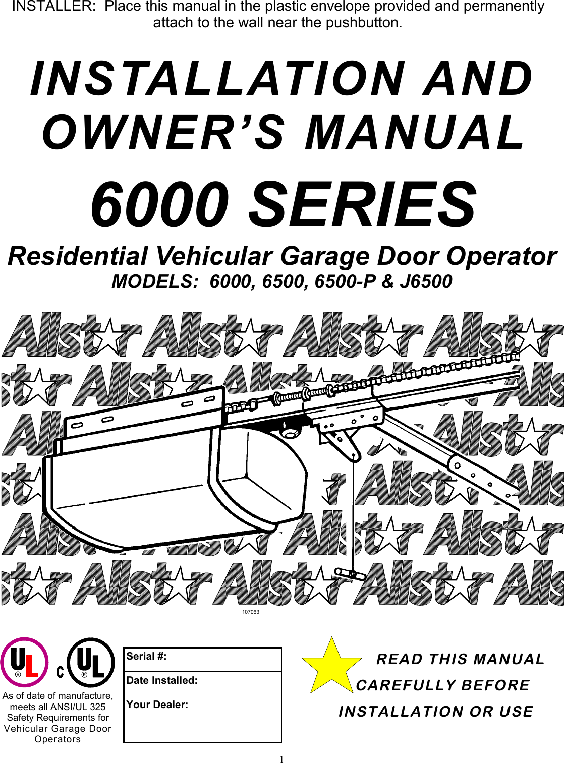 allstar products group 6500 users manual 108391b