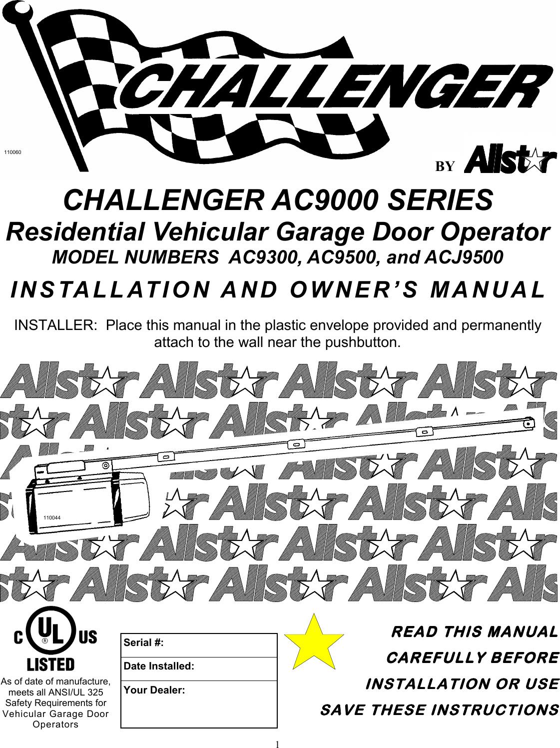 Allstar Products Group Challenger Ac9300 Users Manual 109987c Garage Door Opener Wiring Diagram