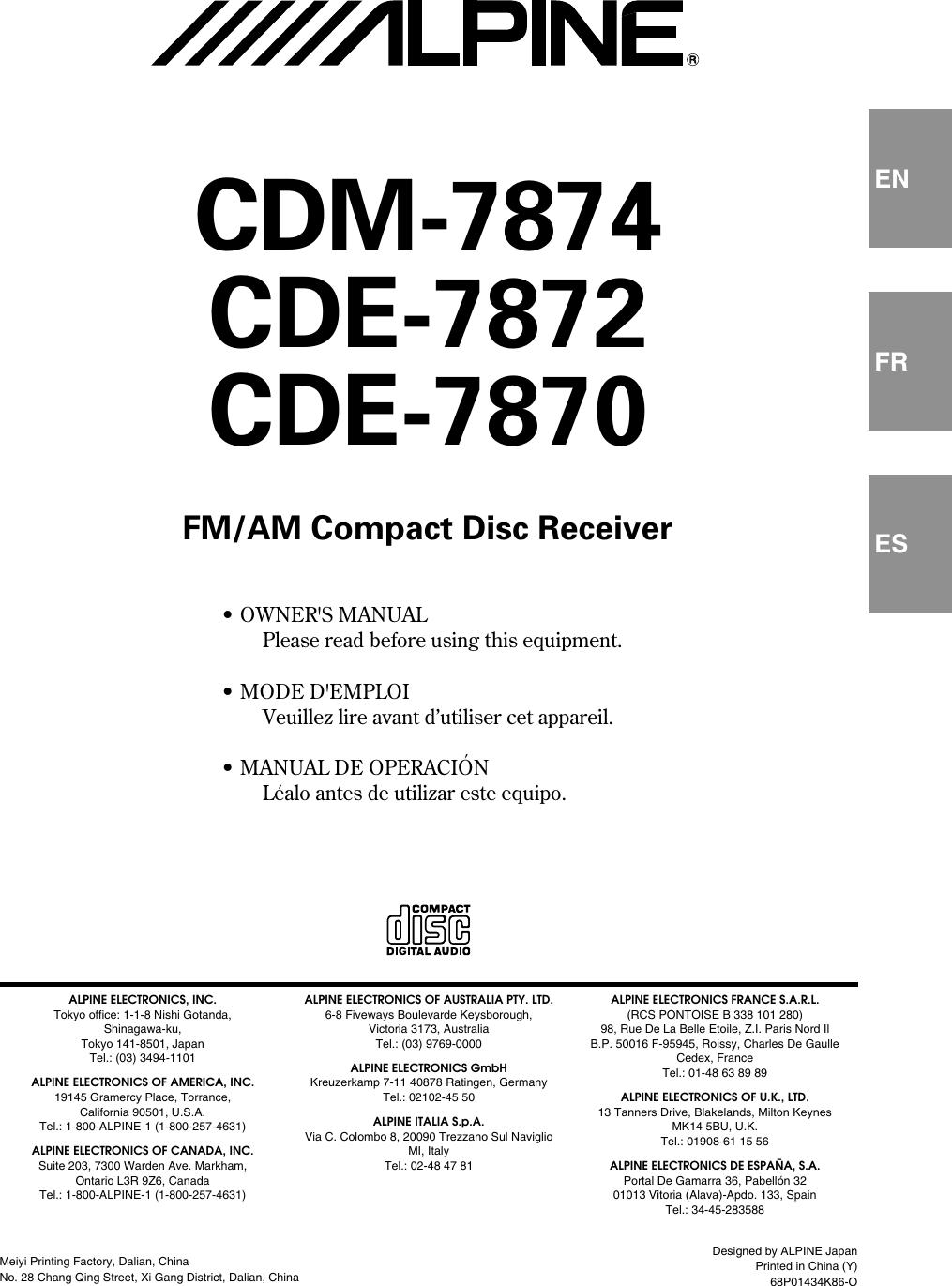 Alpine Cde 7870 Users Manual OM 68P01434K86 O EN on