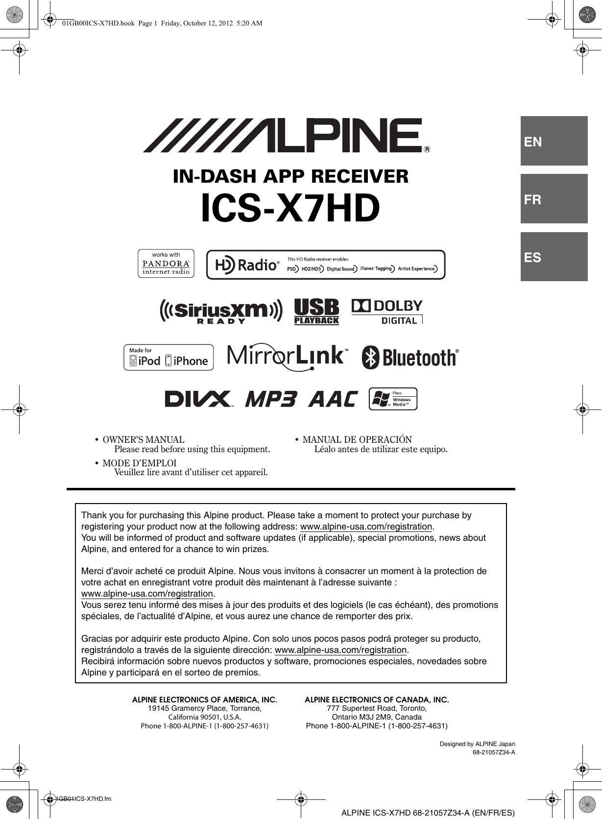 Alpine Ics X7Hd Owners Manual 68 21057Z34 A on