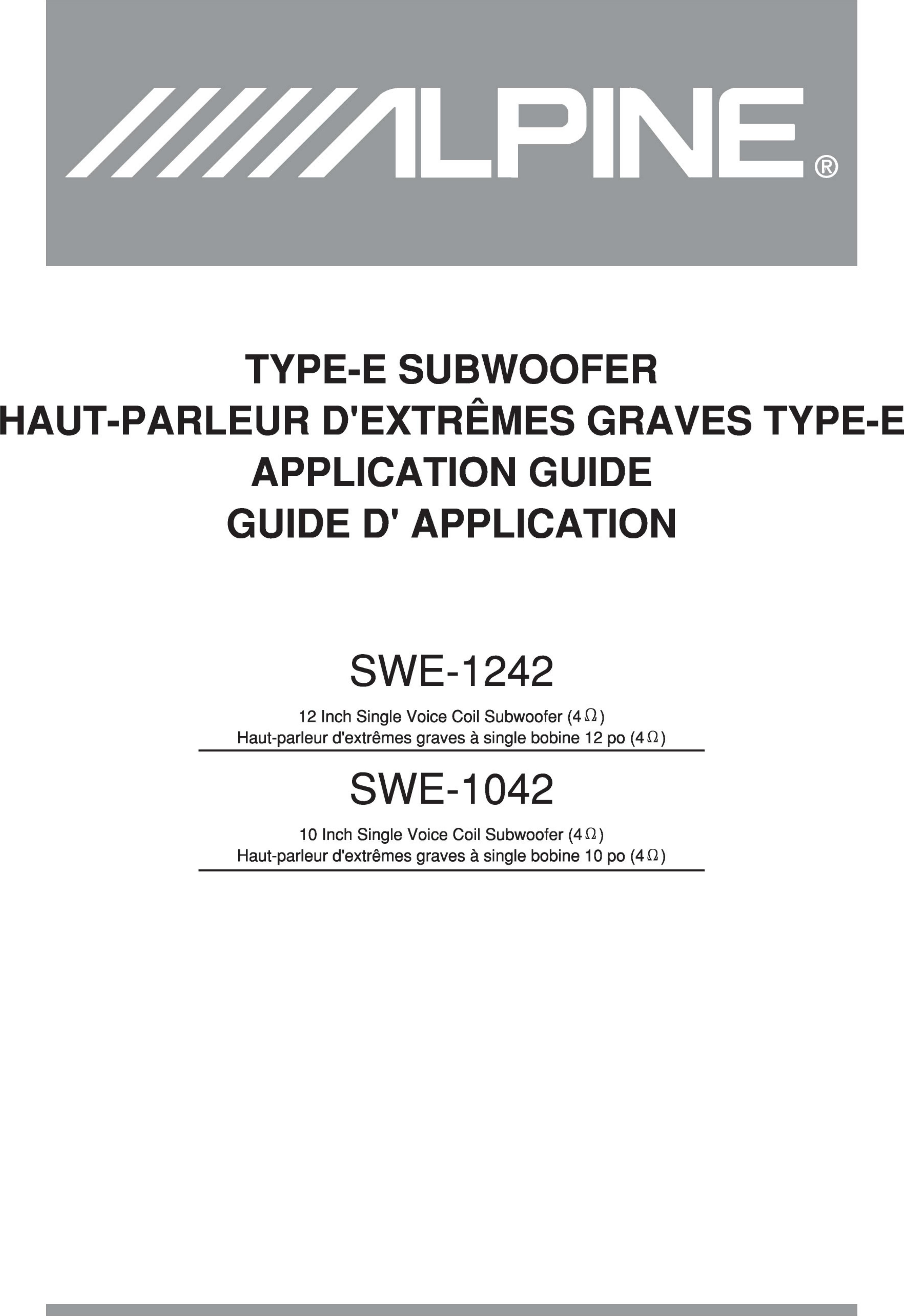 Type De Haut Parleur alpine swe 1242 users manual