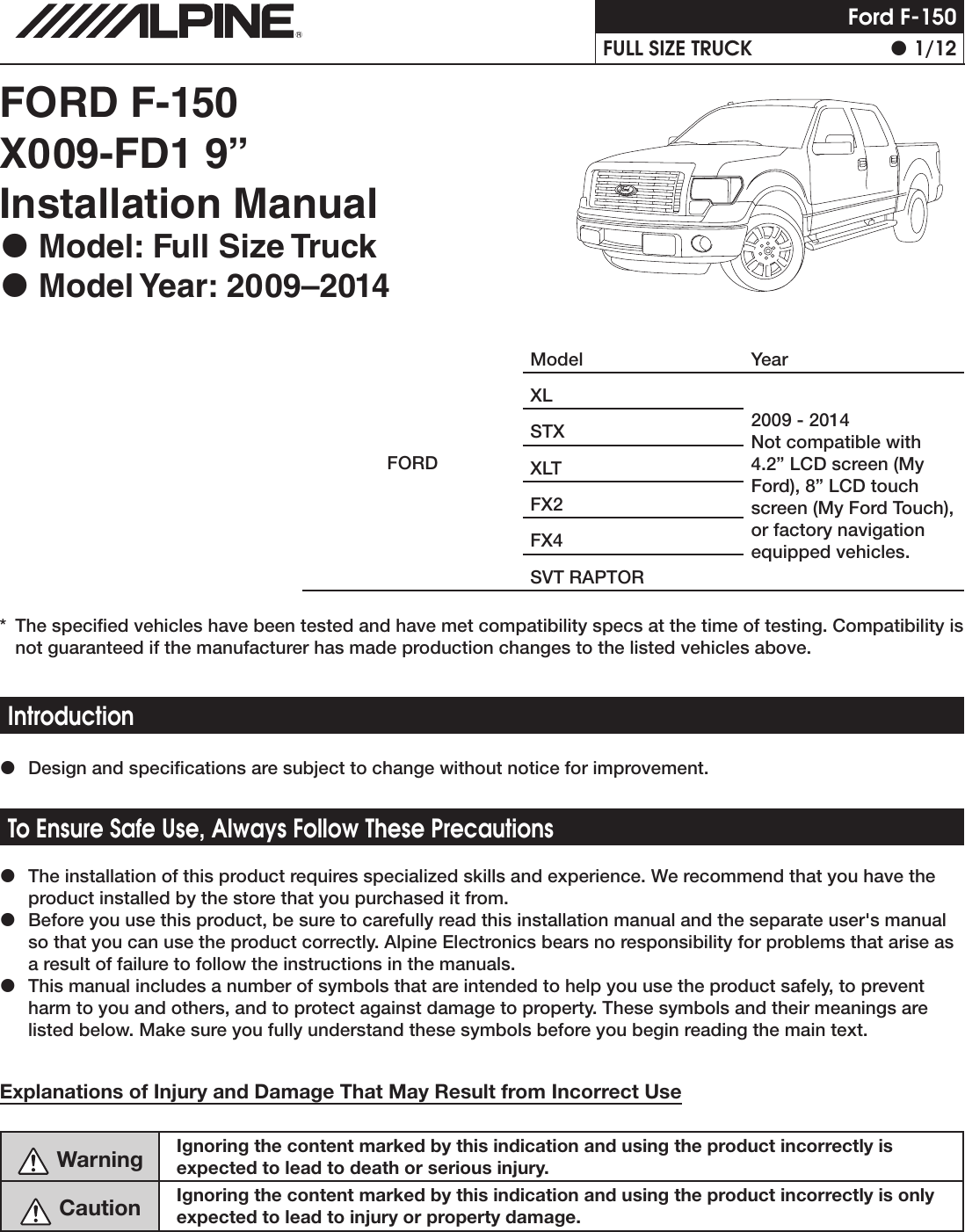 Alpine X009 Fd1 Installation Manual Camera Wiring Diagram Page 1 Of 12