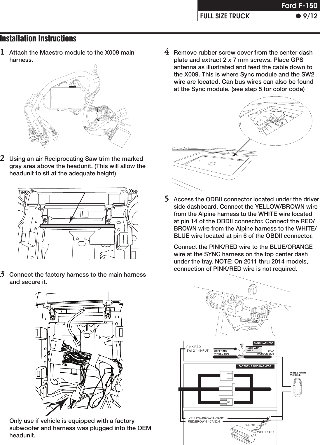 Alpine X009 Fd1 Installation Manual Ford Wiring Color Guide Page 9 Of 12