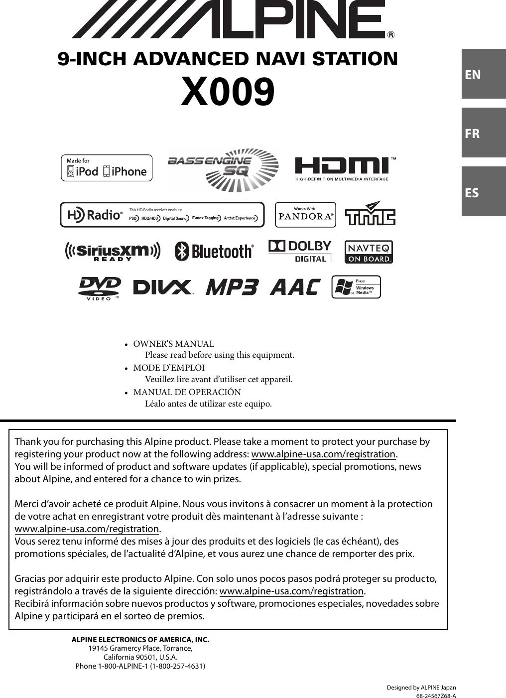 Alpine X009 U Owners Manual Om Cde 121 Wire Diagram