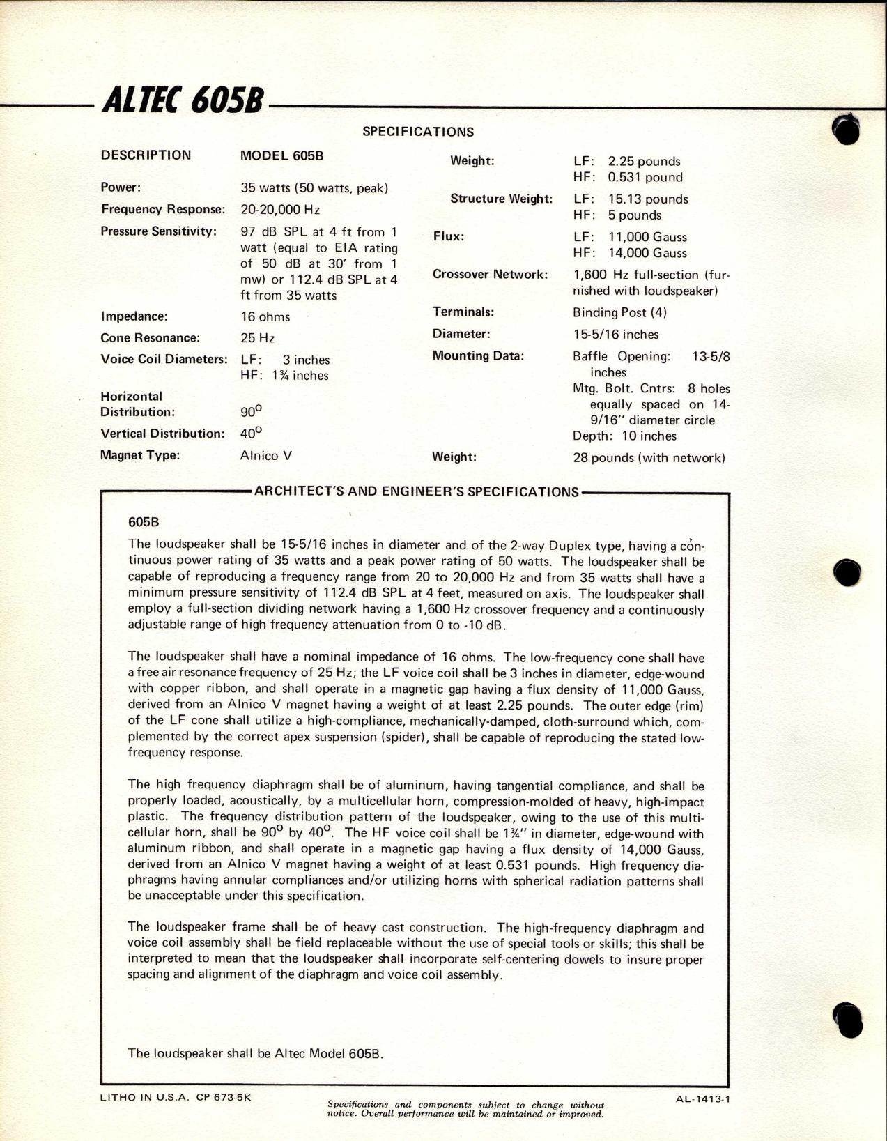 Altec Lansing 605B Users Manual