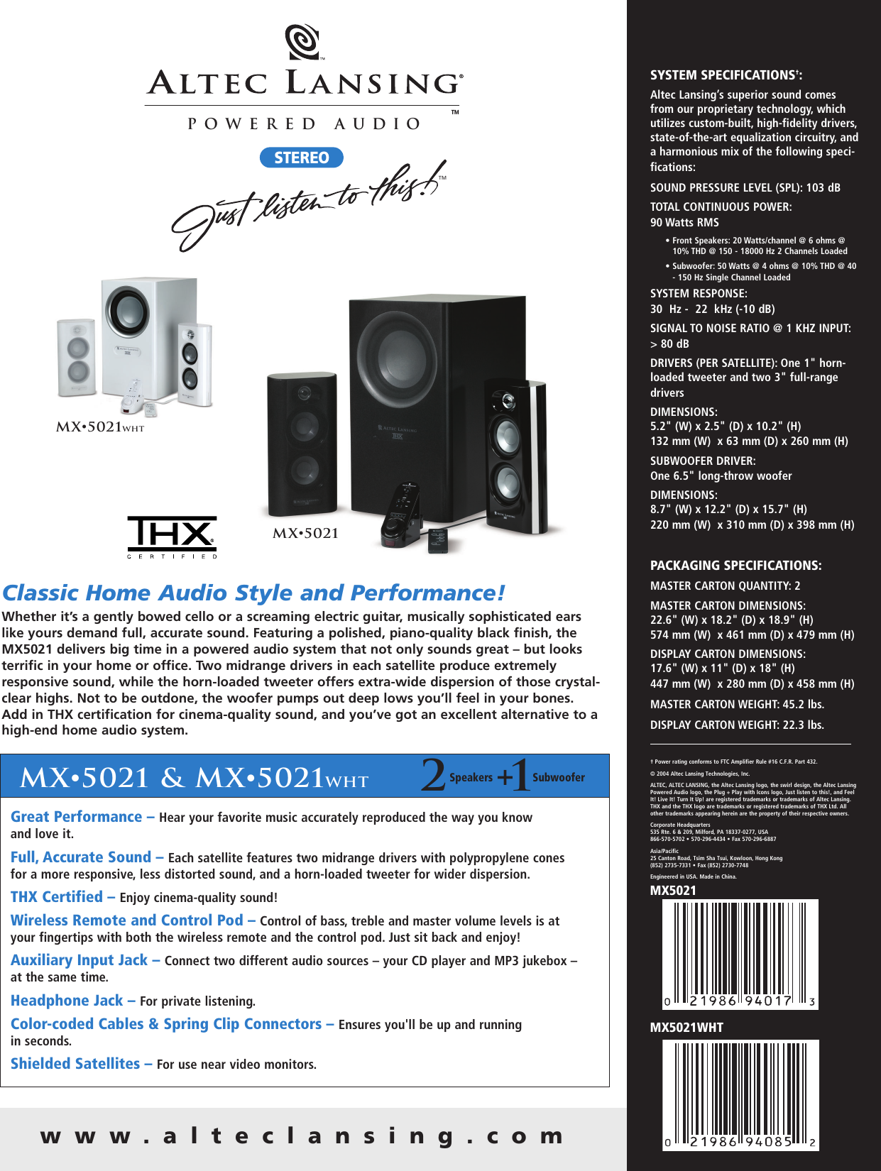 Altec Lansing Mx5021wht Users Manual Us Mx5021 Sell Sheet Pa Qrk