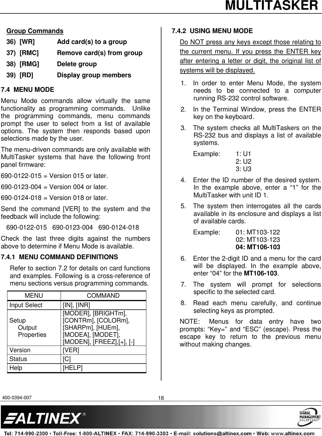 Altinex Mt106 103 Users Manual 400 0394 007