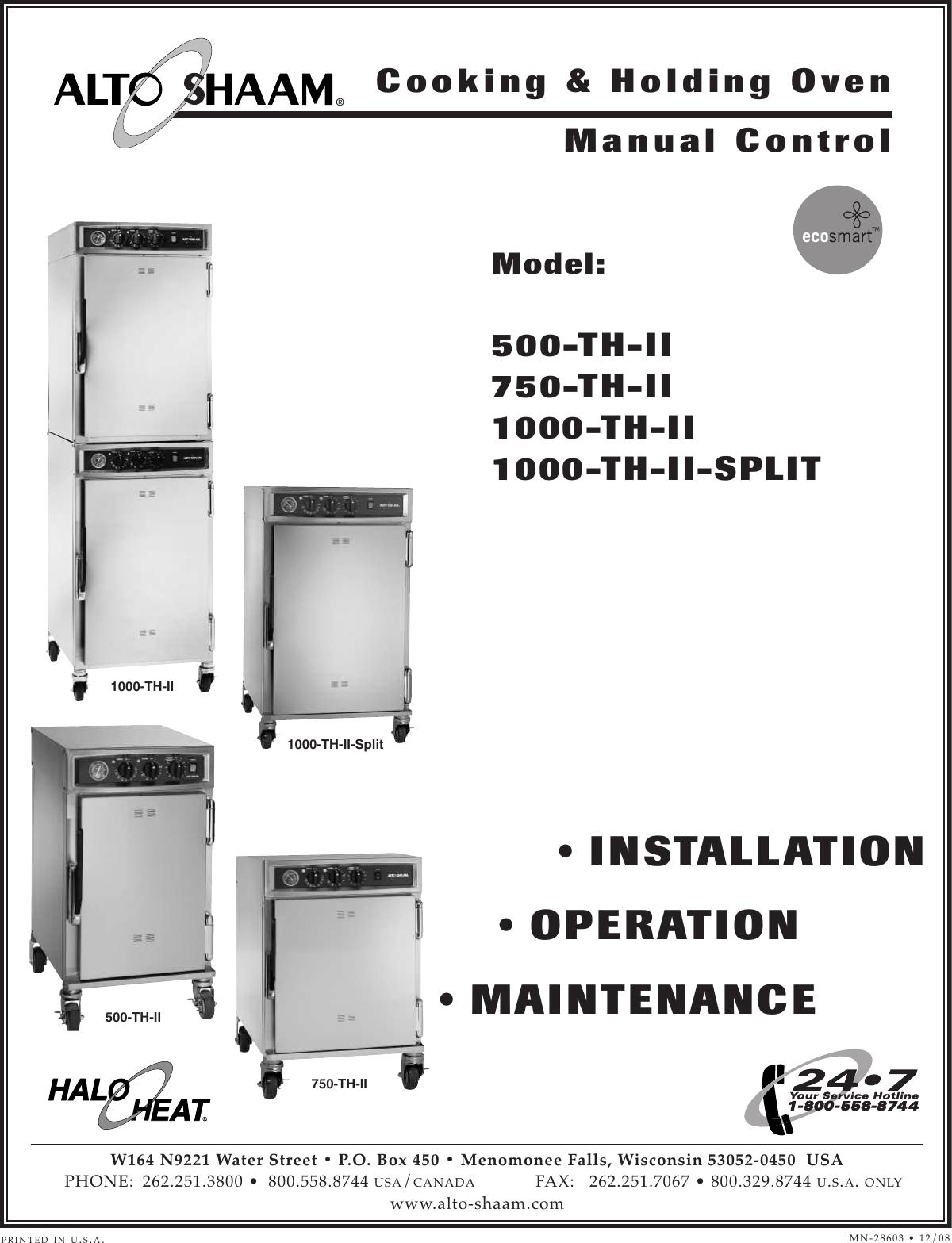 [WQZT_9871]  Alto Shaam 1000 Th Ii Split Users Manual 833_750 THII_U | Alto Shaam Wiring Diagram |  | UserManual.wiki