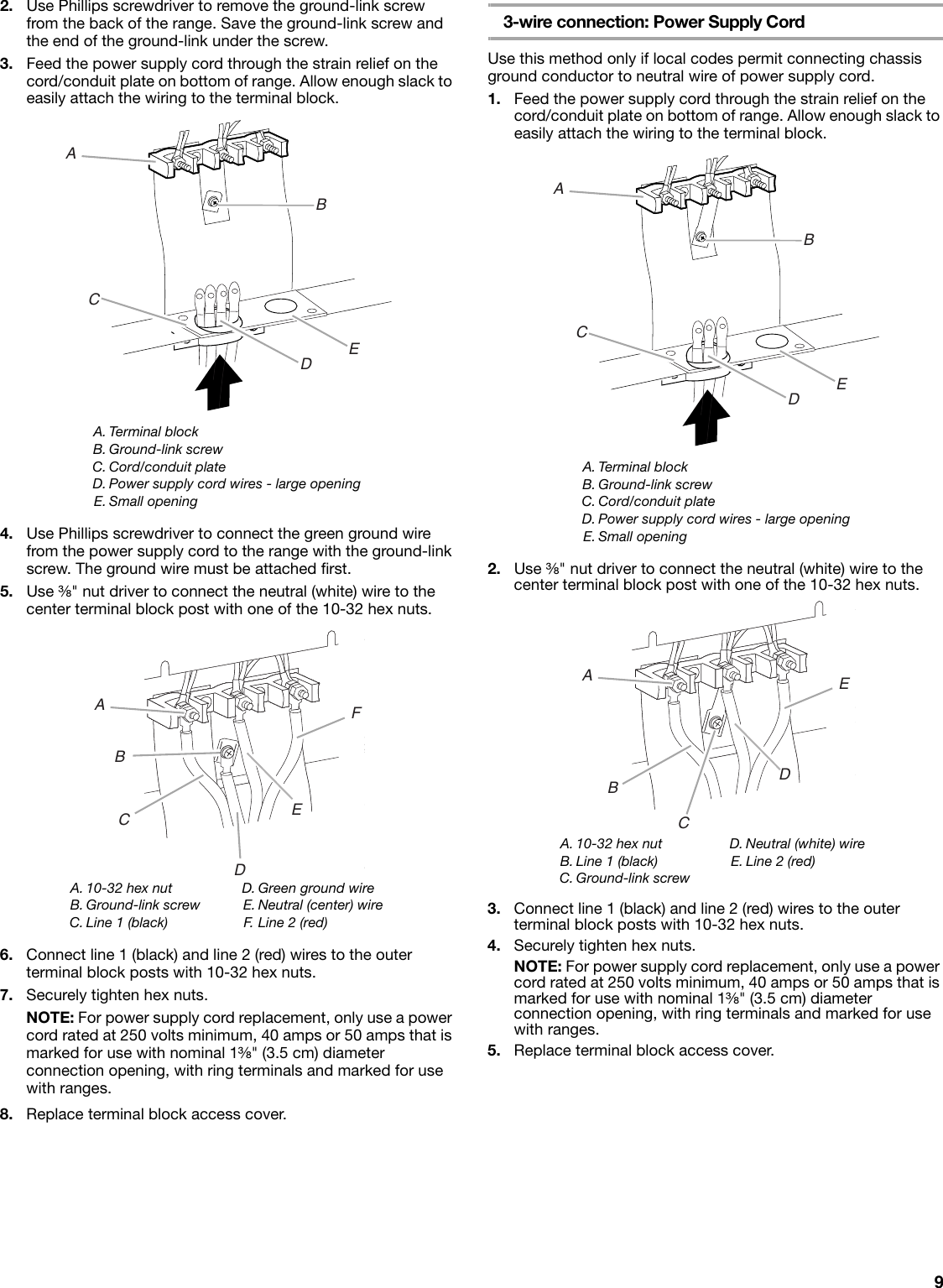 Amana Aep222vaw Installation Instructions Wiring A Terminal Block Page 9 Of 12