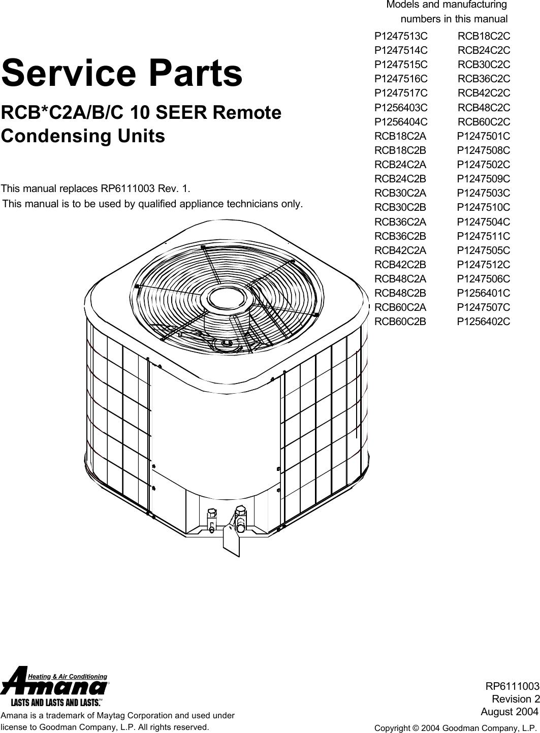 amana air conditioner rcb18c2cp1247513c users manual rpt parts cover