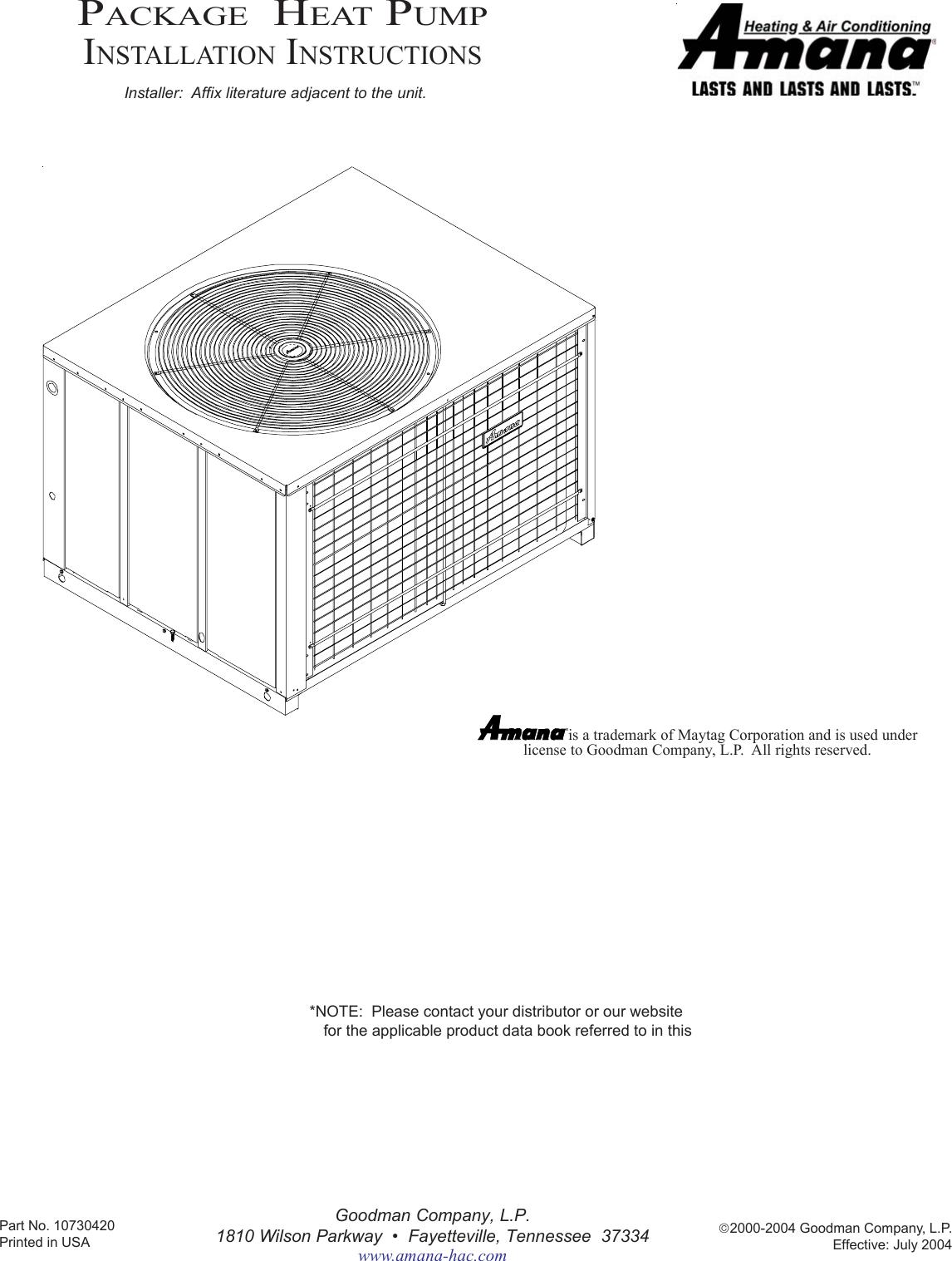 Amana Package Heat Pump Users Manual 10730418 Rev 3 Wiring Diagram For Goodman Ac Unit