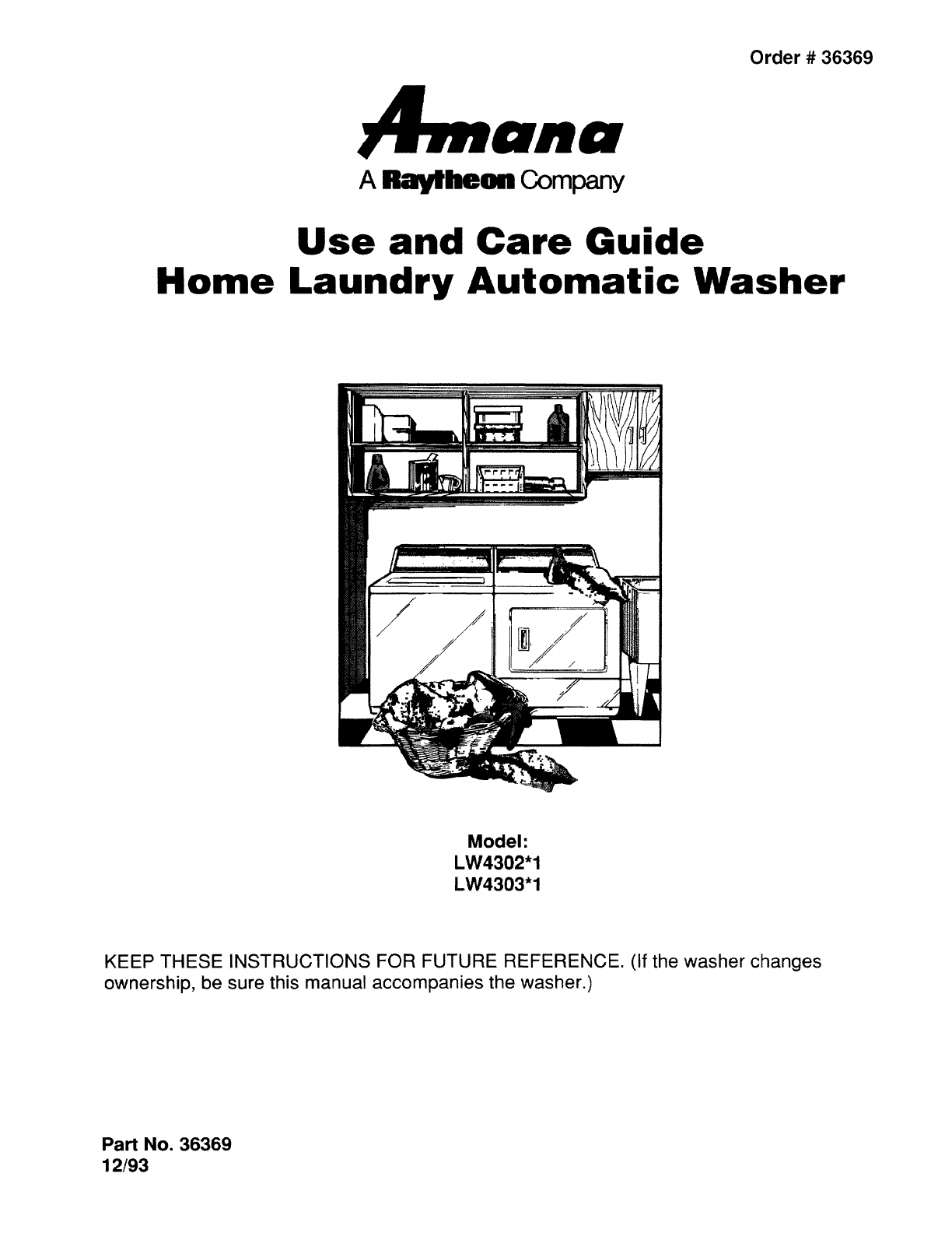 Amana Lw4303l P1163304wl User Manual Washer Manuals And Guides L0807655 Washing Machine Wiring Diagram Laundry Accessories Owners Installation