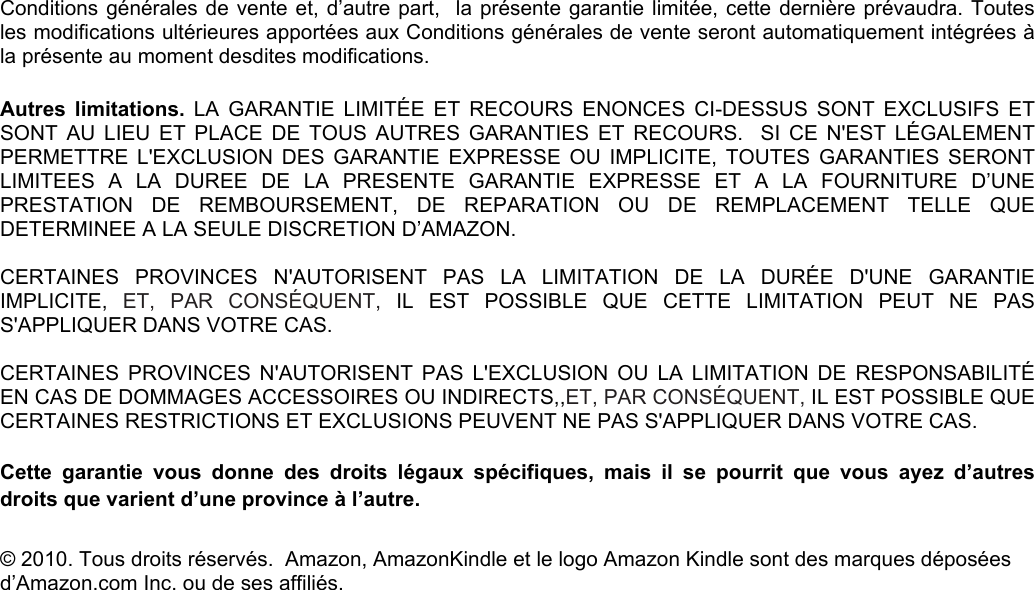 Amazon Kindle Amazon Ca Fra Garantie Garantiex User Manual