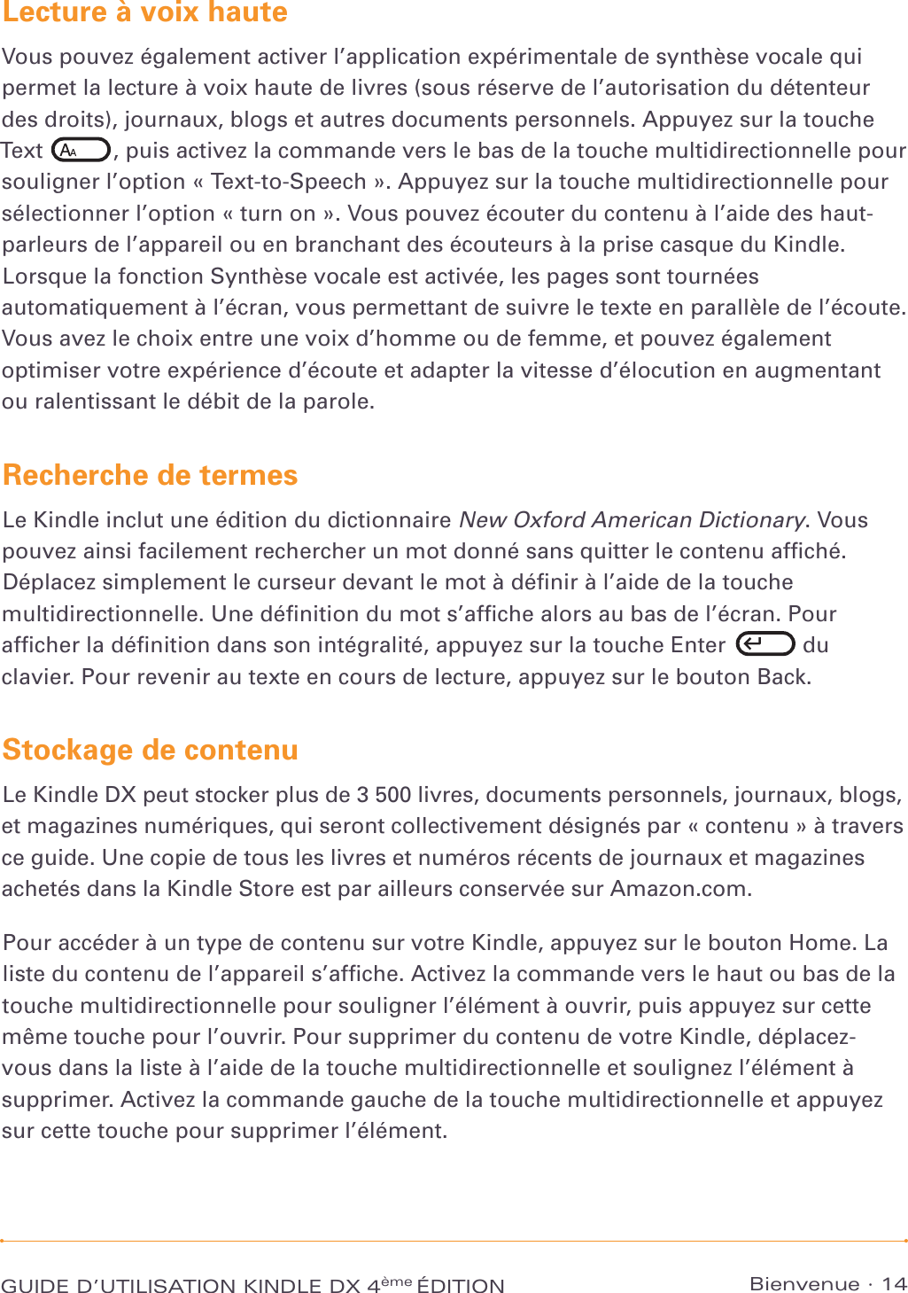 Amazon Kindle Dx User S Guide 4th Edition French