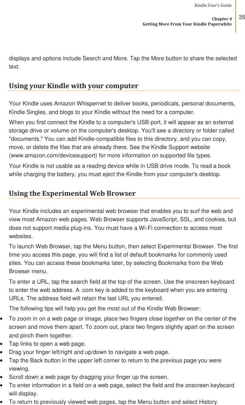 Amazon Kindle Paperwhite 7Th Generation Users Guide User's
