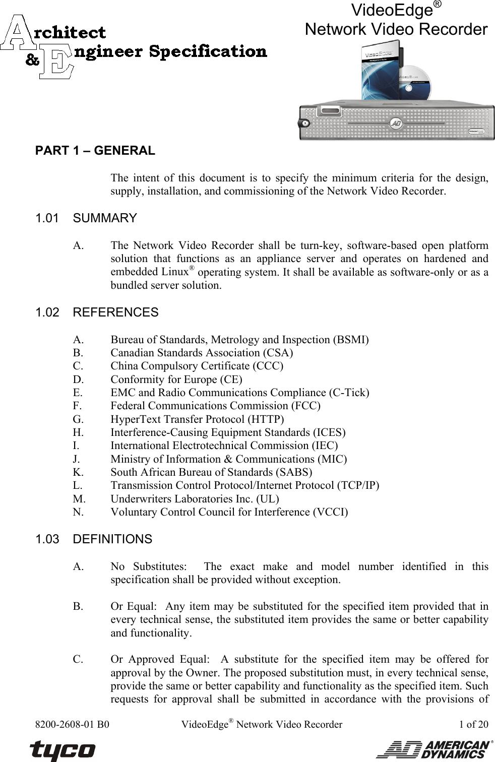 American Dynamics Videoedge Adnsnvr Cl1 Users Manual NVR