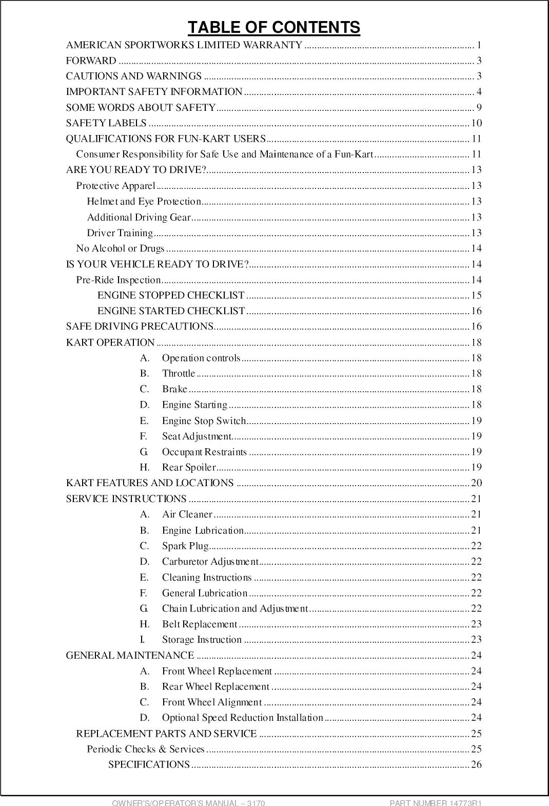 American Sportswork 3170 User Manual FUN KART Manuals And