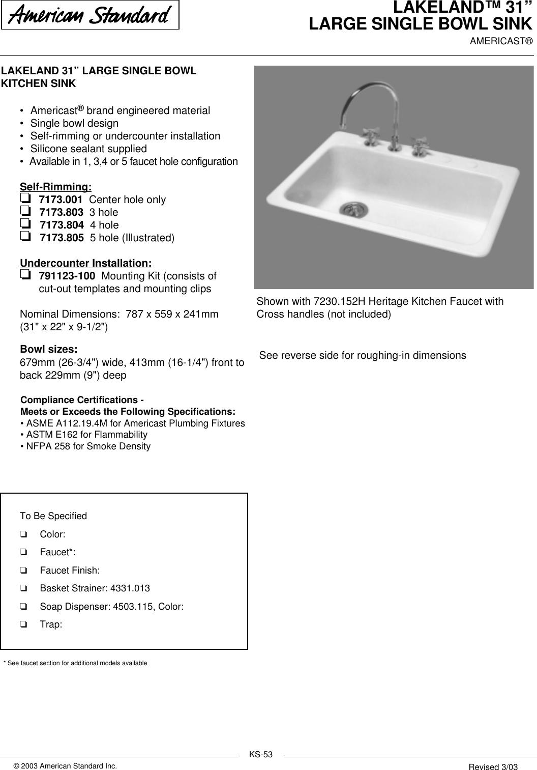 Page 1 of 2 - American-Standard American-Standard-Lakeland-31-Large-Single-Bowl-Sink-7173-001-Users-Manual- KITCHEN SINKS  American-standard-lakeland-31-large-single-bowl-sink-7173-001-users-manual