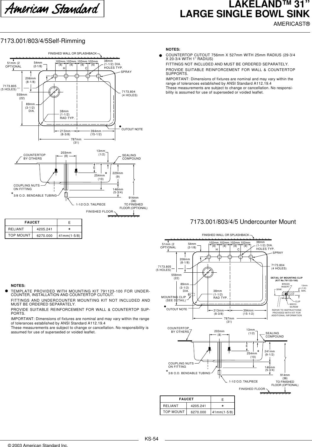 Page 2 of 2 - American-Standard American-Standard-Lakeland-31-Large-Single-Bowl-Sink-7173-001-Users-Manual- KITCHEN SINKS  American-standard-lakeland-31-large-single-bowl-sink-7173-001-users-manual