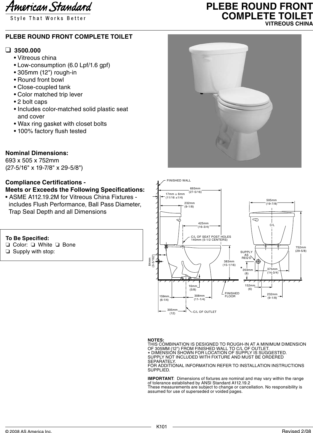 American Standard Plebe Round Front Toilet 3500 000 Users