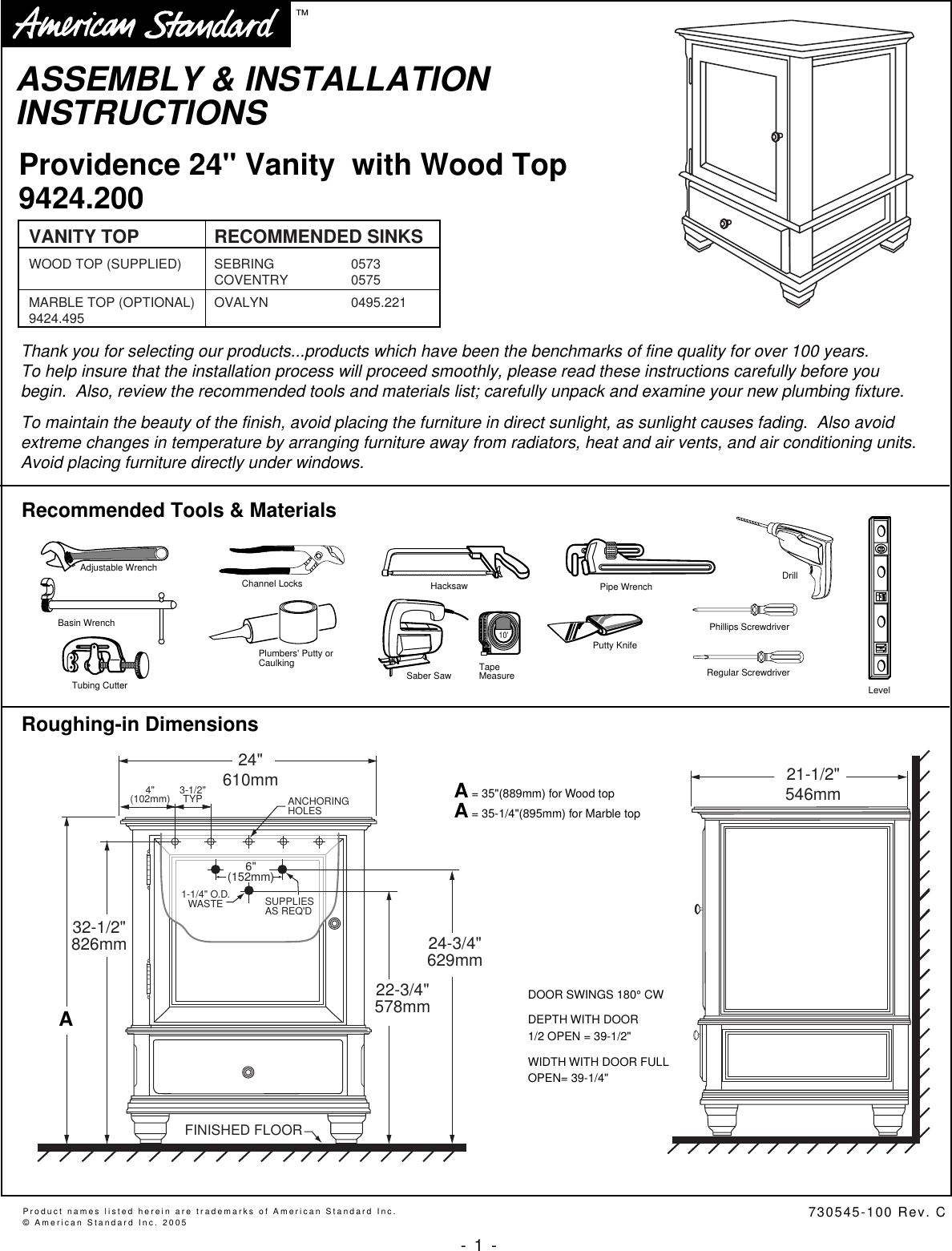 48inch Erika Vanity Manual Guide