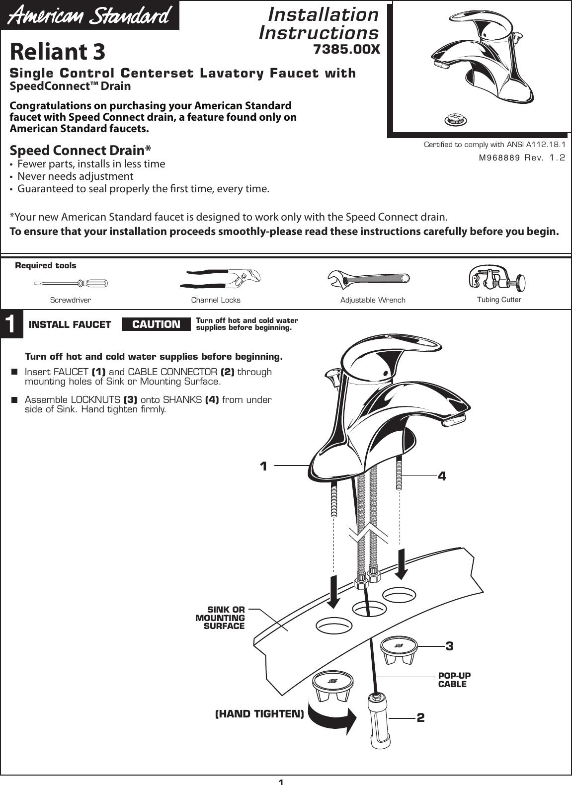 American Standard Reliant 3 7385 00X Users Manual