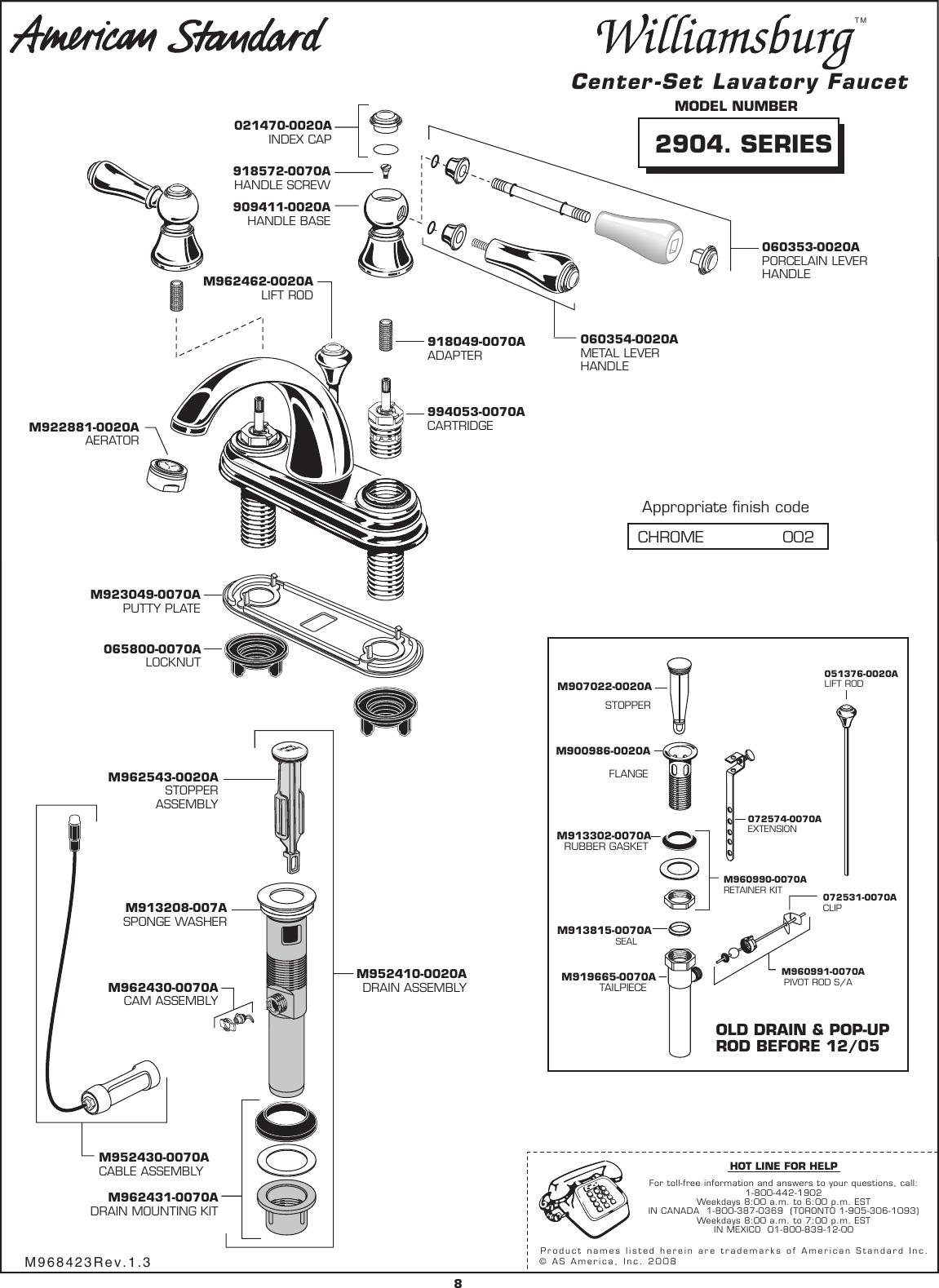 American Standard Williamsburg 2904 Series Users Manual