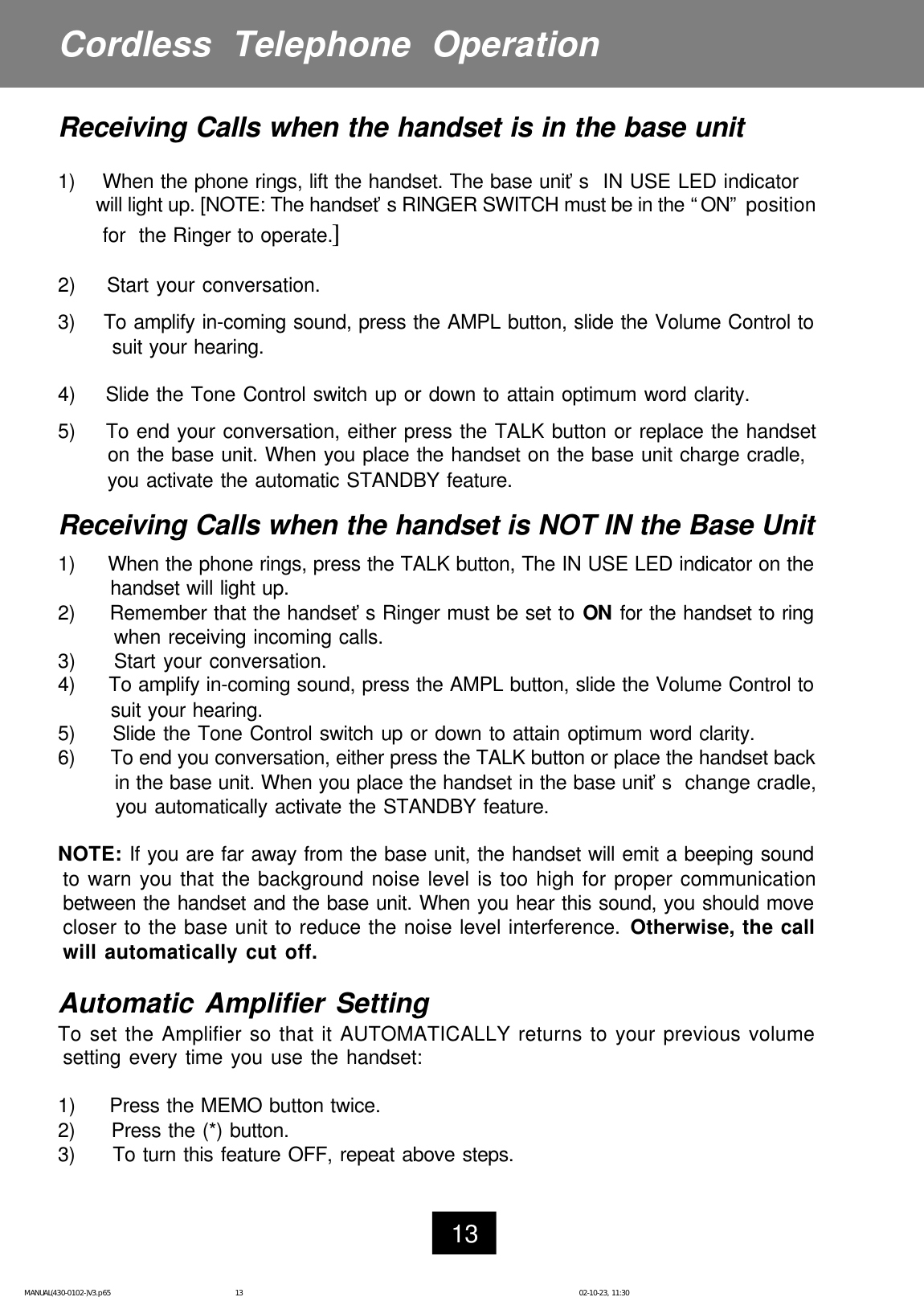 Ameriphone Cl 40 Users Manual E