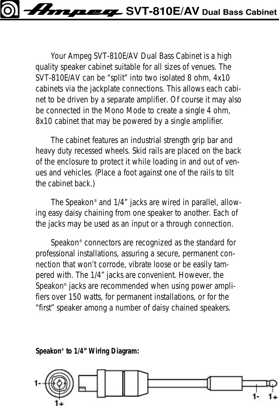 Ampeg Svt810e Av Users Manual Speakon Jack Wiring Page 2 Of 4