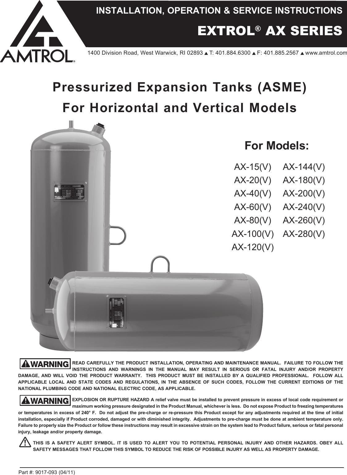 Amtrol Extrol Ax 100V Users Manual 9017 093 04_11 IO
