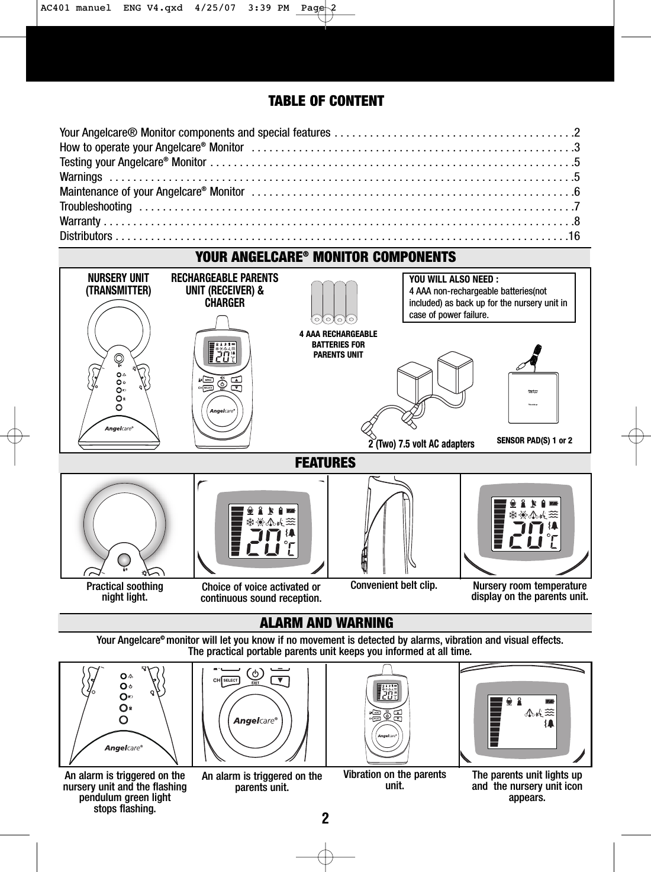 angelcare monitor manual