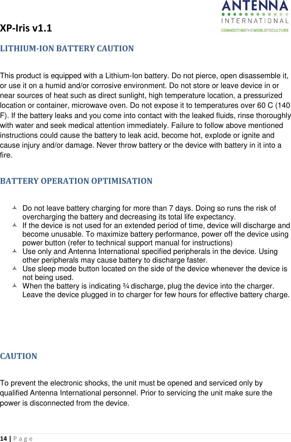 Antenna XP11-1 XP-IRIS TM User Manual manual