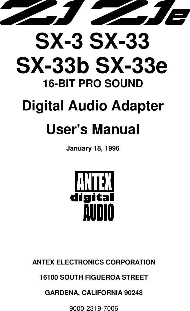 ANTEX SX-23E DRIVER FOR WINDOWS