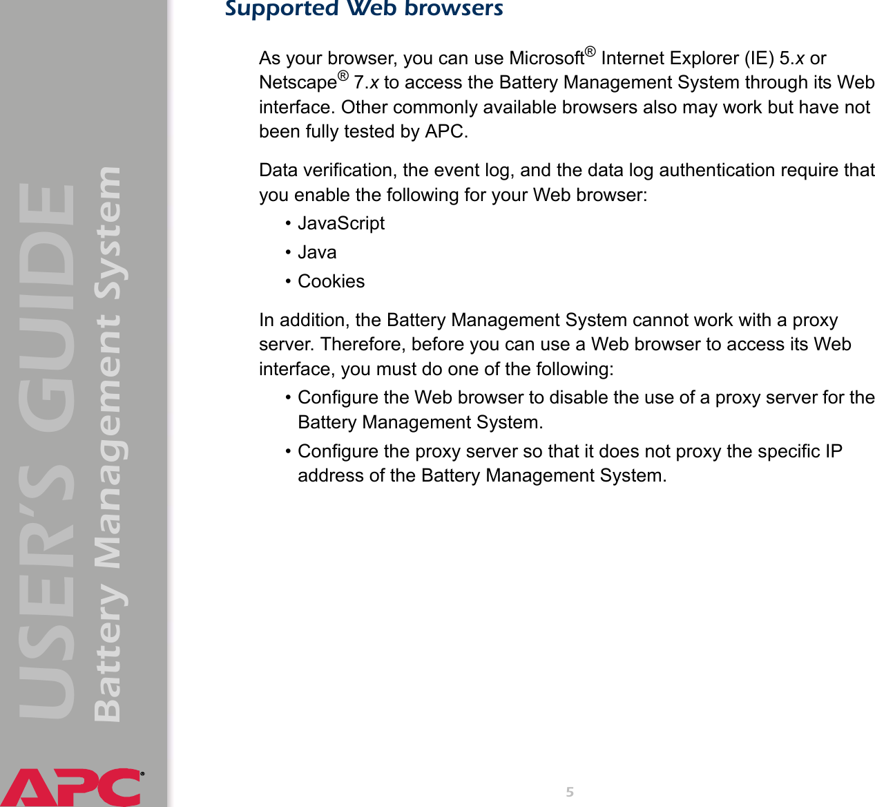 Apc Battery Management System Users Manual User's Guide