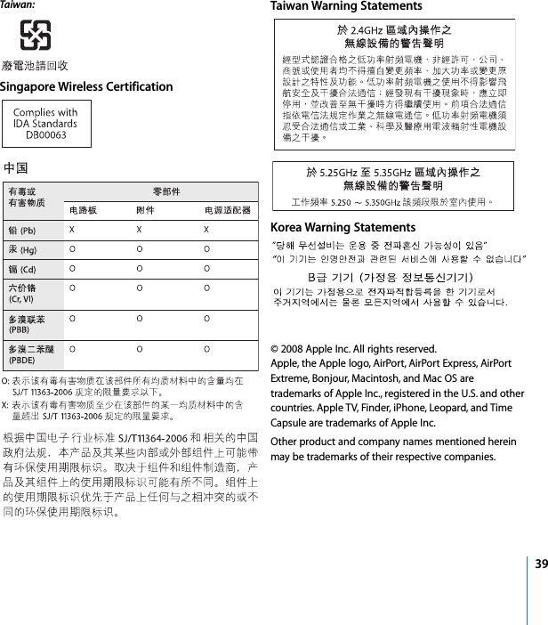 39Taiwan:  Singapore Wireless CertificationTaiwan Warning StatementsKorea Warning Statements© 2008 Apple Inc. All rights reserved.Apple, the Apple logo, AirPort, AirPort Express, AirPort Extreme, Bonjour, Macintosh, and Mac OS are trademarks of Apple Inc., registered in the U.S. and other countries. Apple TV, Finder, iPhone, Leopard, and Time Capsule are trademarks of Apple Inc.Other product and company names mentioned herein may be trademarks of their respective companies.