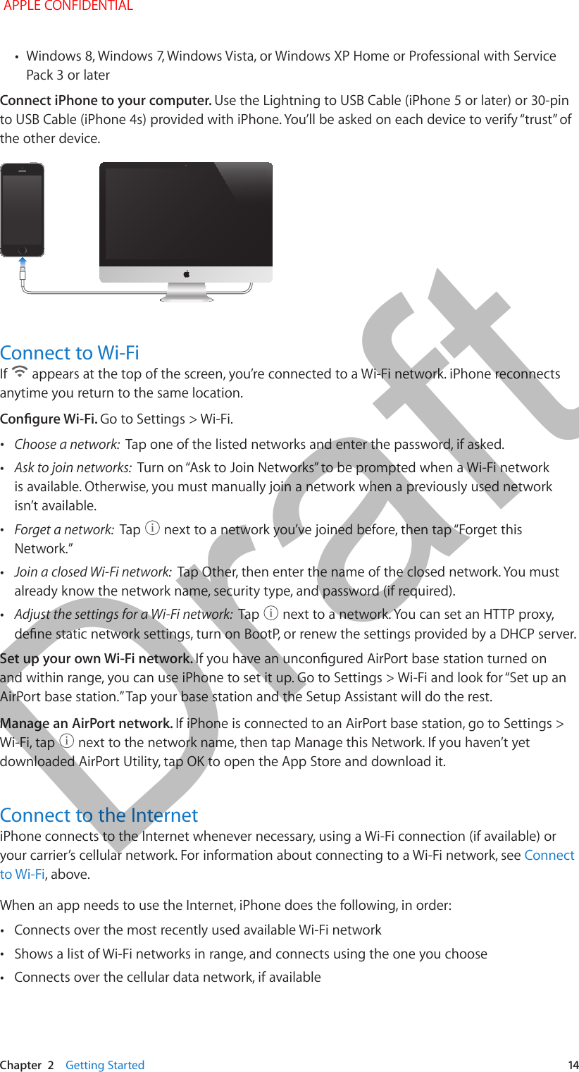 Apple E2817a Cellular Phone With Bluetooth And Wlan Radios User Iphone 5 Usb Cord Wiring Diagram Chapter 2 Getting Started