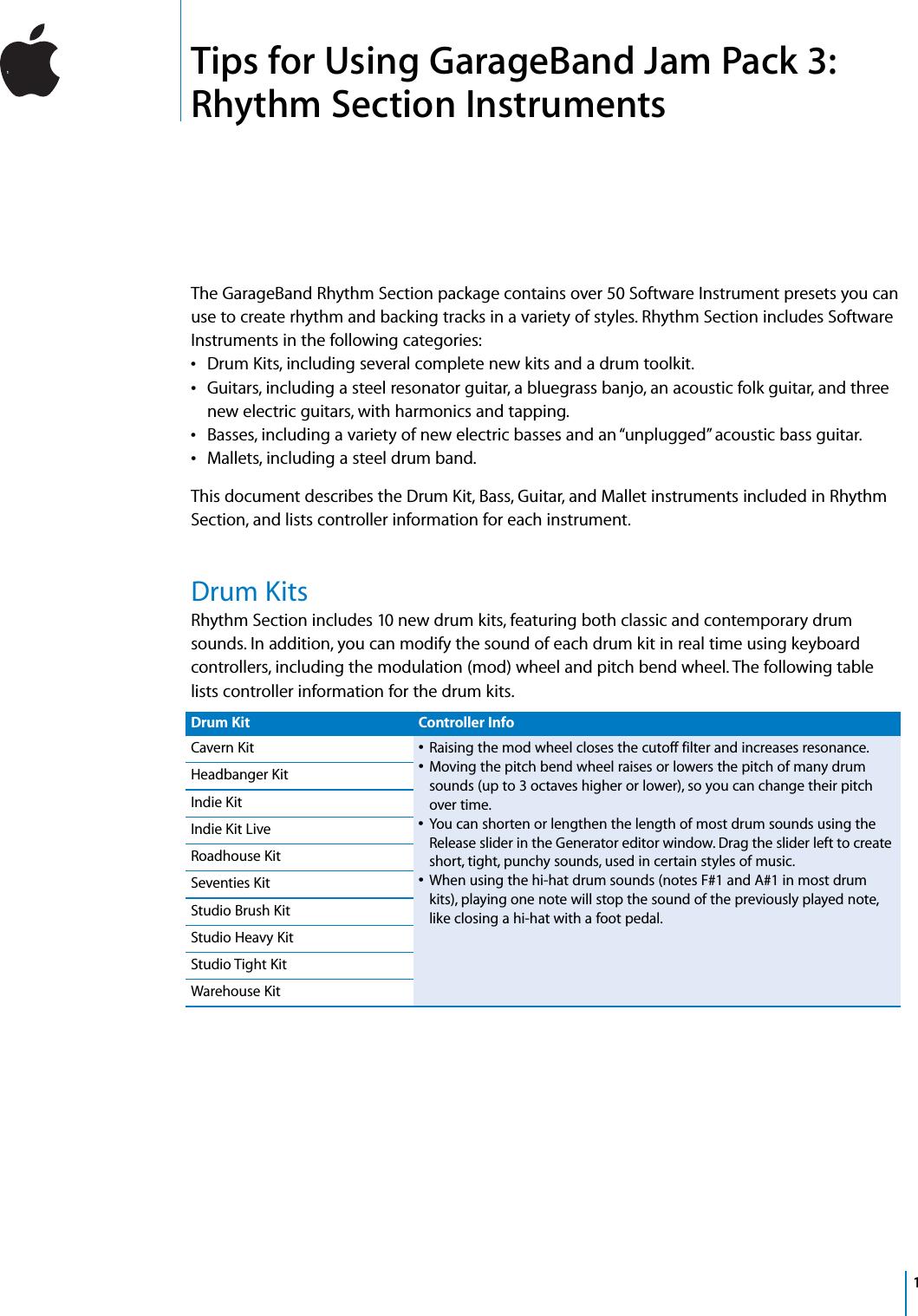 Apple Jam Pack GarageBand 3 User Manual Garage Band 3: Rythm