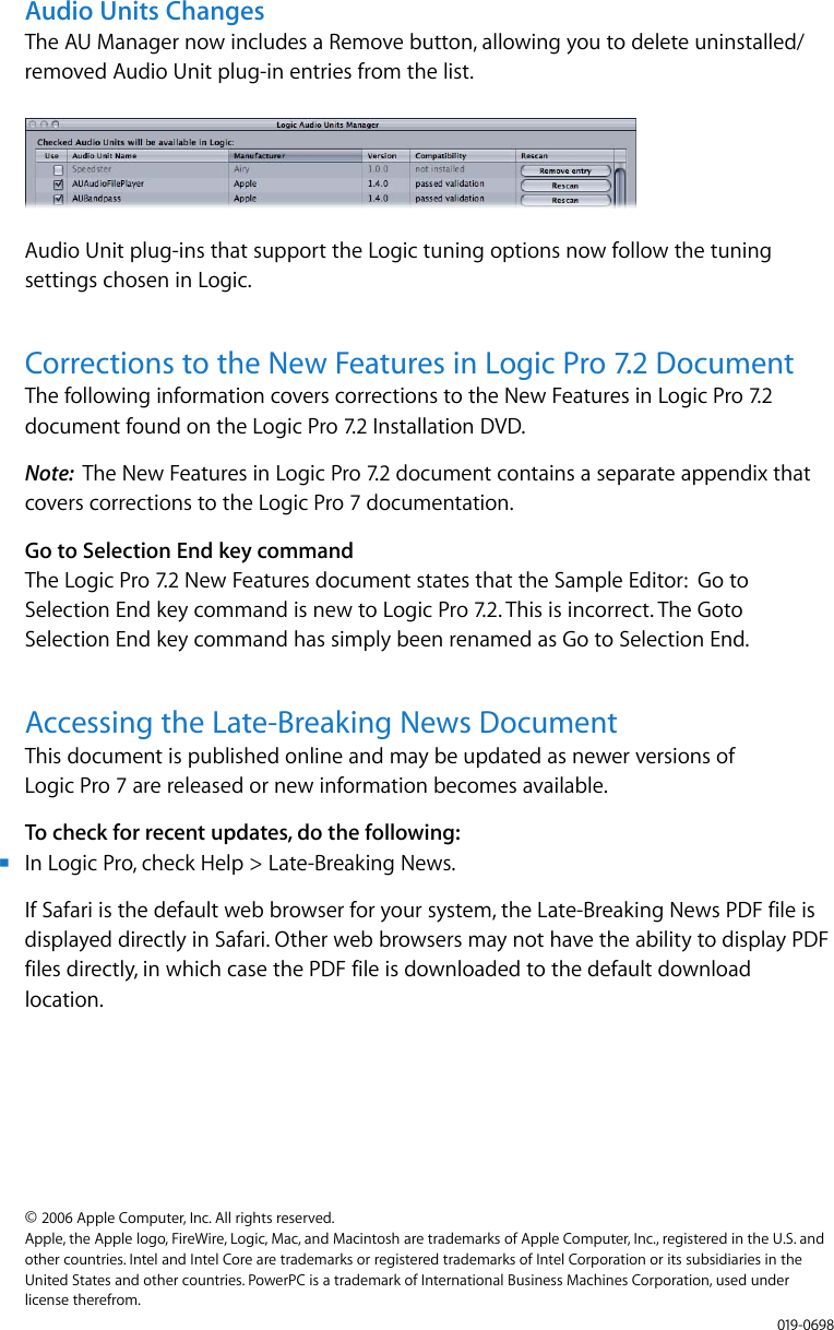 Apple Logic Pro 9 x Late Breaking News User Manual About 7 2