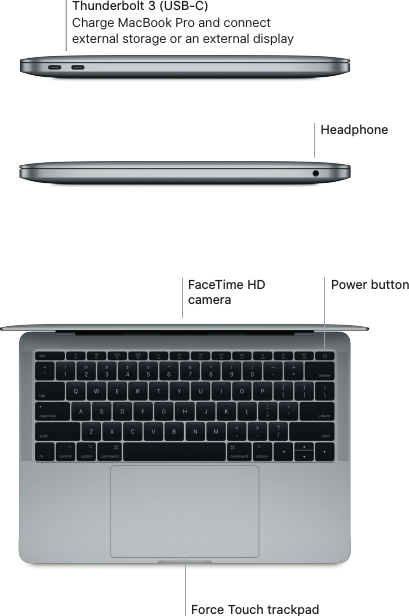 Apple MacBook Pro (13 inch, 2017, Two Thunderbolt 3 Ports