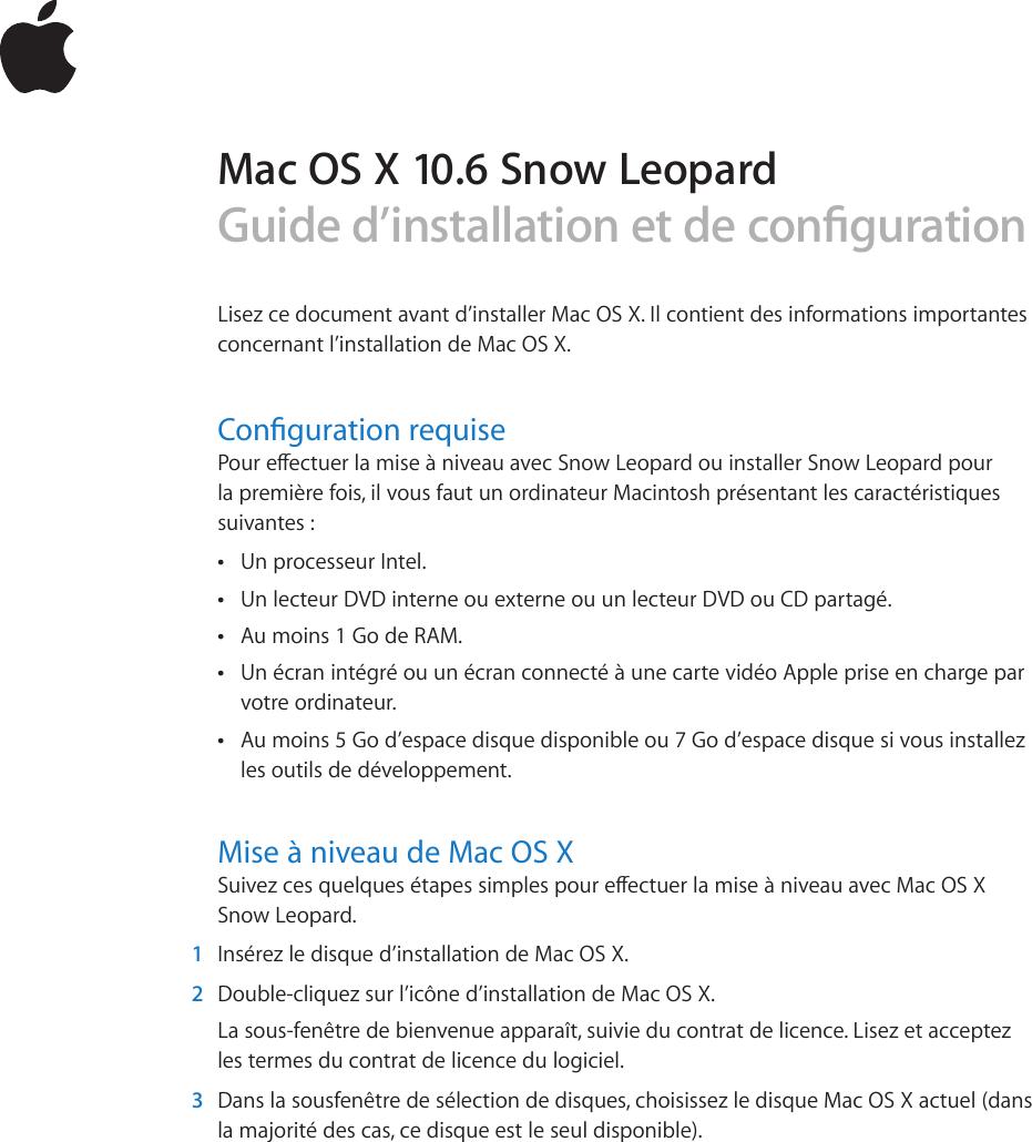 Apple Mac OS X 10.6 Installation Instructions User Manual V10.6 Snow  Leopard Guide D'installation Et De Configuration D