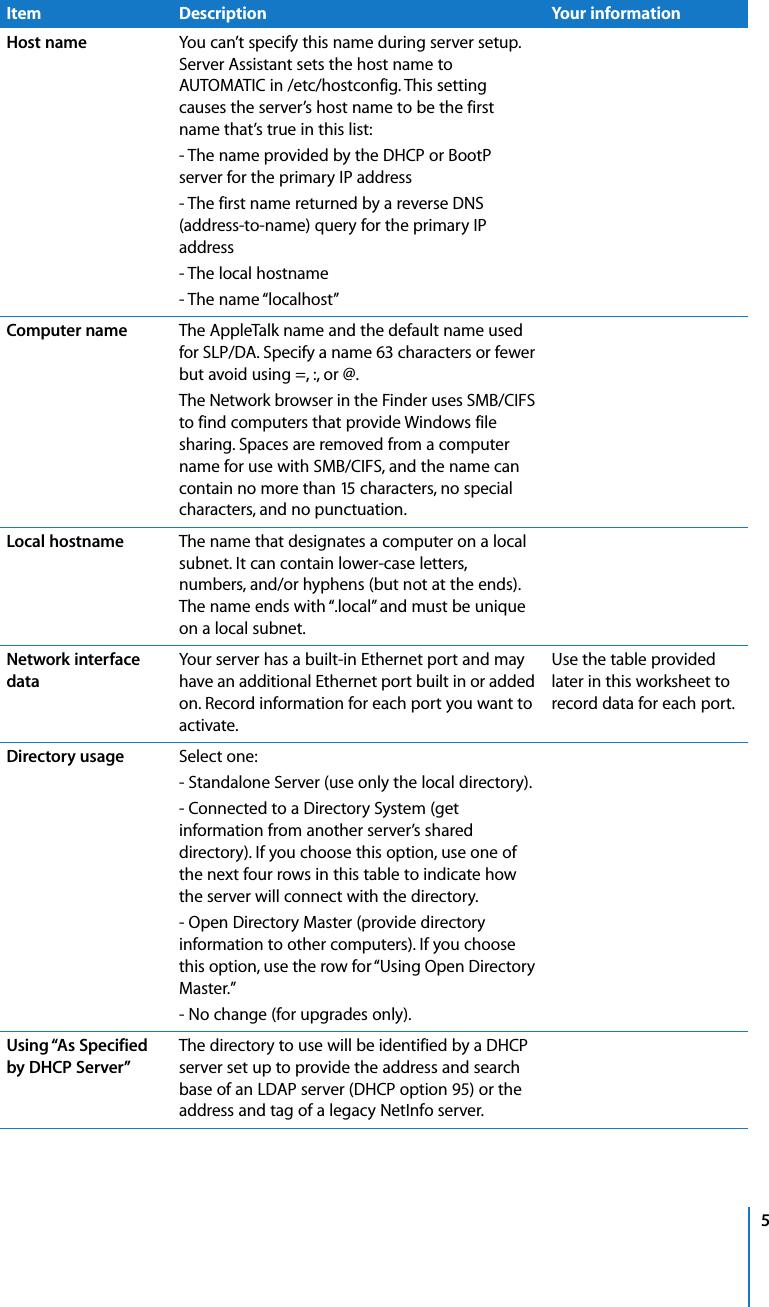 Apple MacOSXServer Mac OS X Server Worksheet User Manual ...