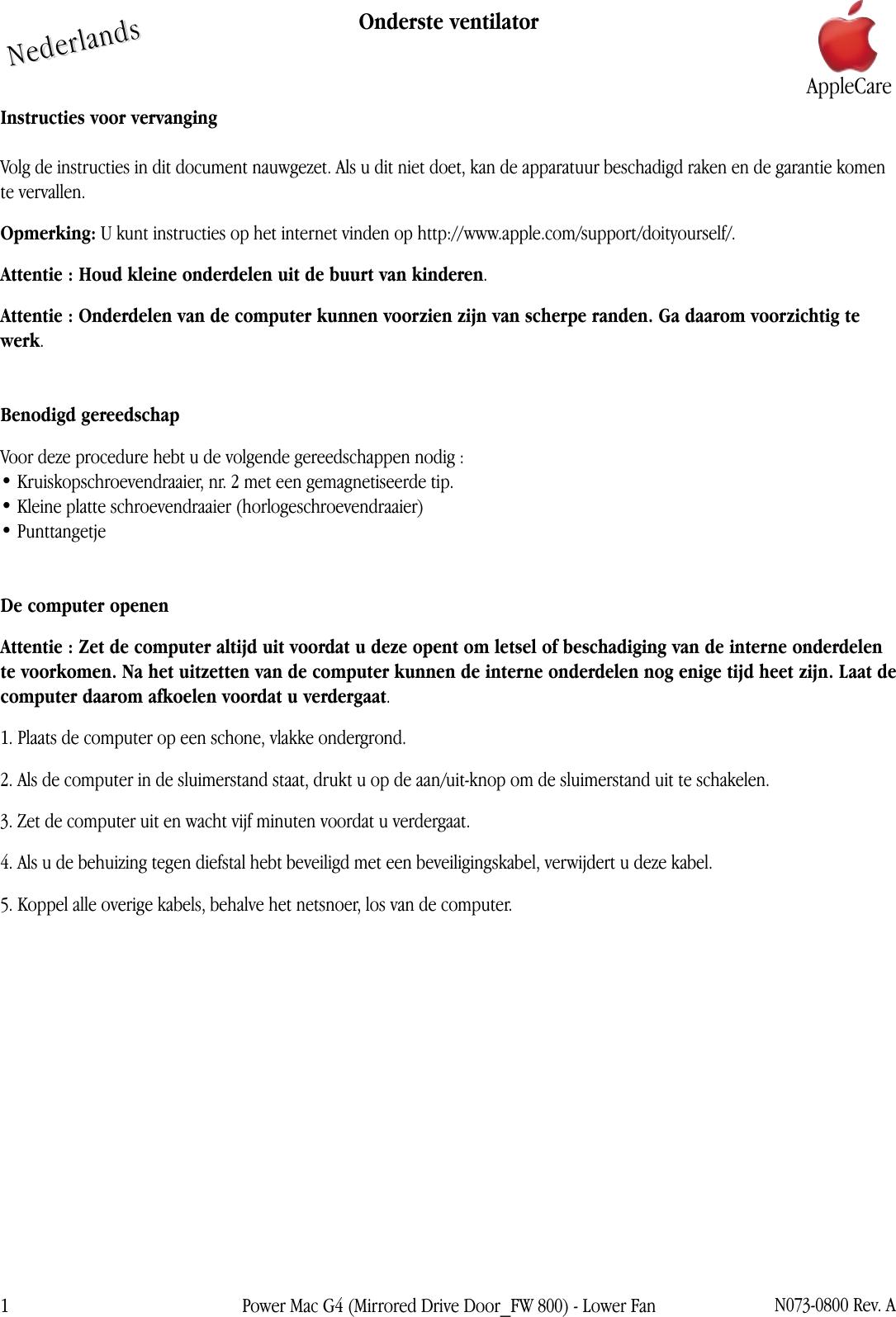 Spiegel Op Je Computer.Apple Powermacg4 Spiegel Drivedeur Lower Fan User Manual