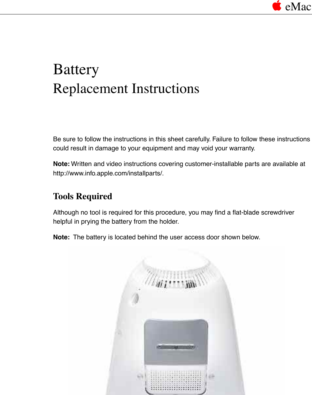 apple emac cip battery user manual e mac replacement instructions rh usermanual wiki Apple iMac Apple Laptops